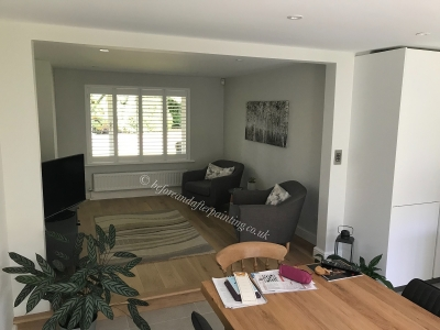 A kitchen Snug area painted with Regal Matte in Paper White colour