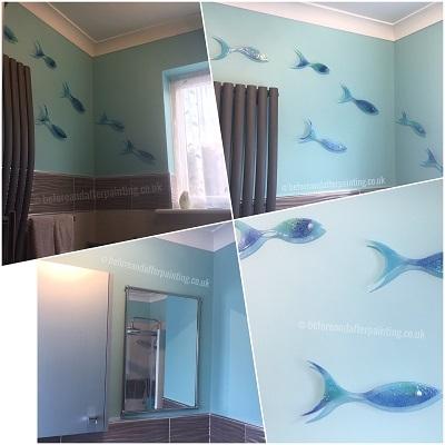 bathroom painted in benjamin moore aura bath and spa spectra blue