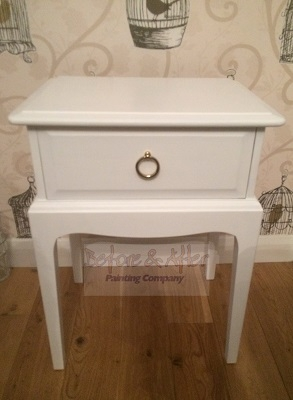 a one drawer stag bedside unit hand painted in white using mylands of london eggshell in pure white