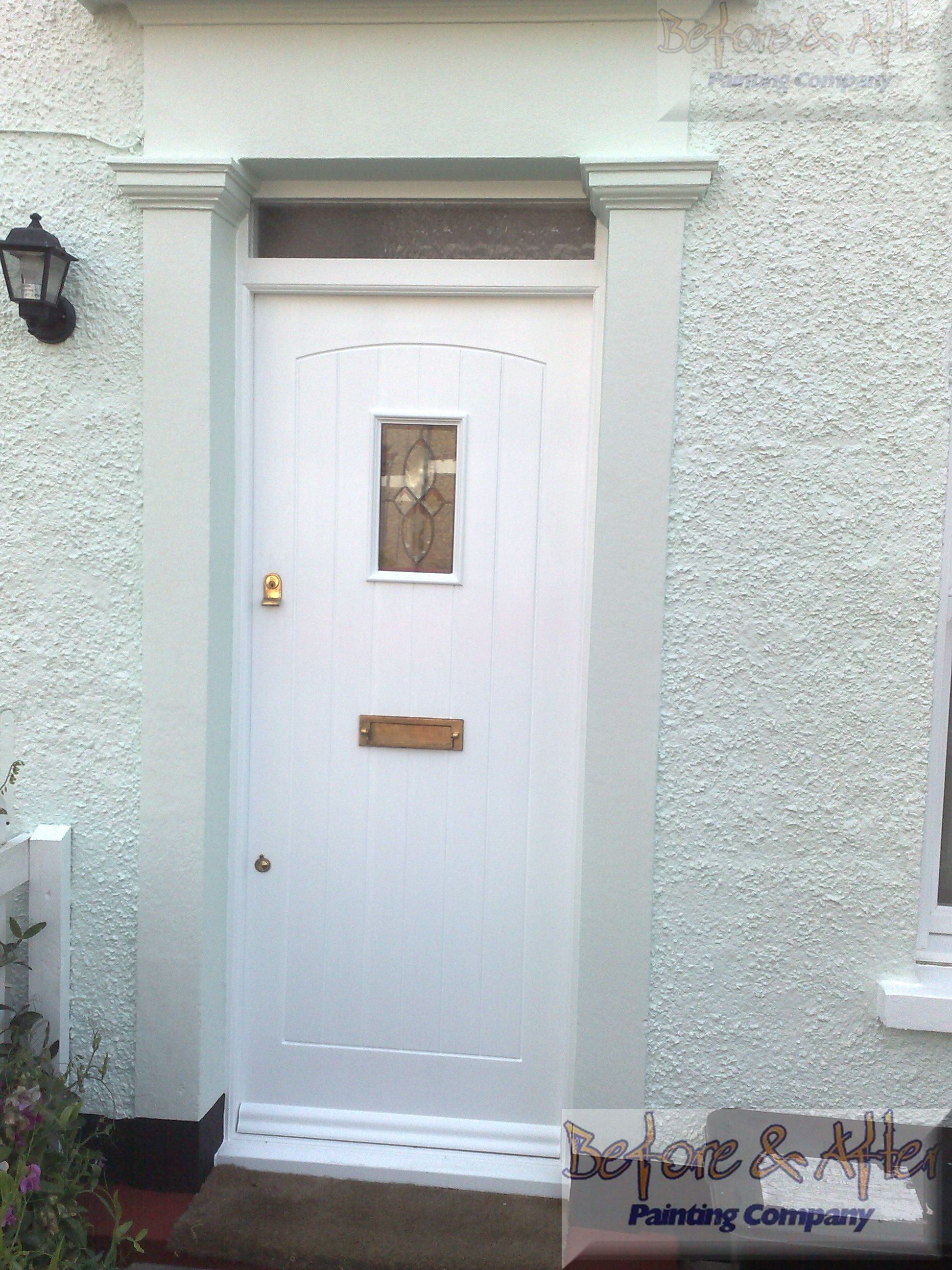 Albany smooth masonry paint - Seafoam. Front door - Sandtex flexi-gloss in brilliant white.