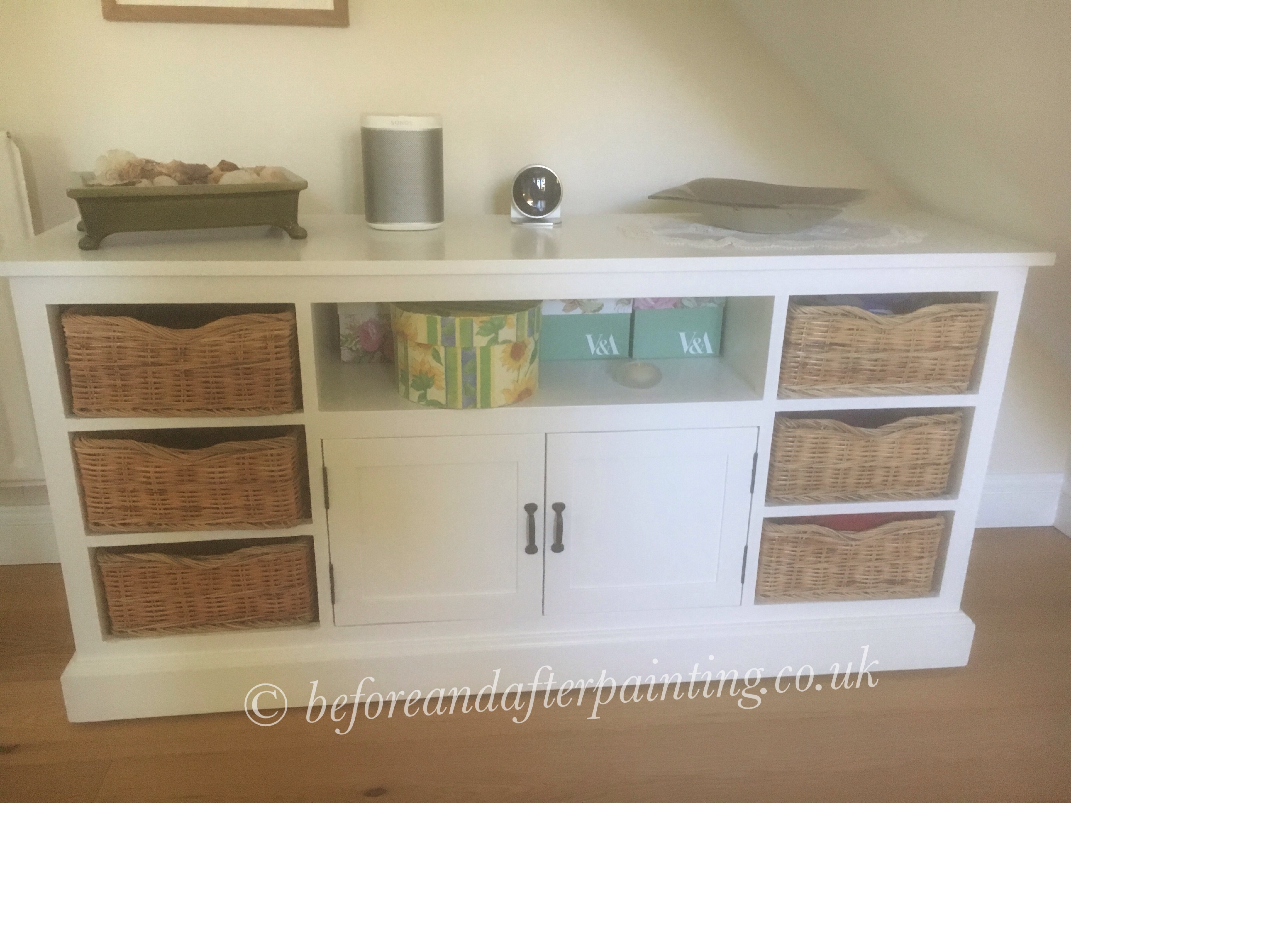 A John Lewis Sideboard painted in white eggshell waterbased paint.