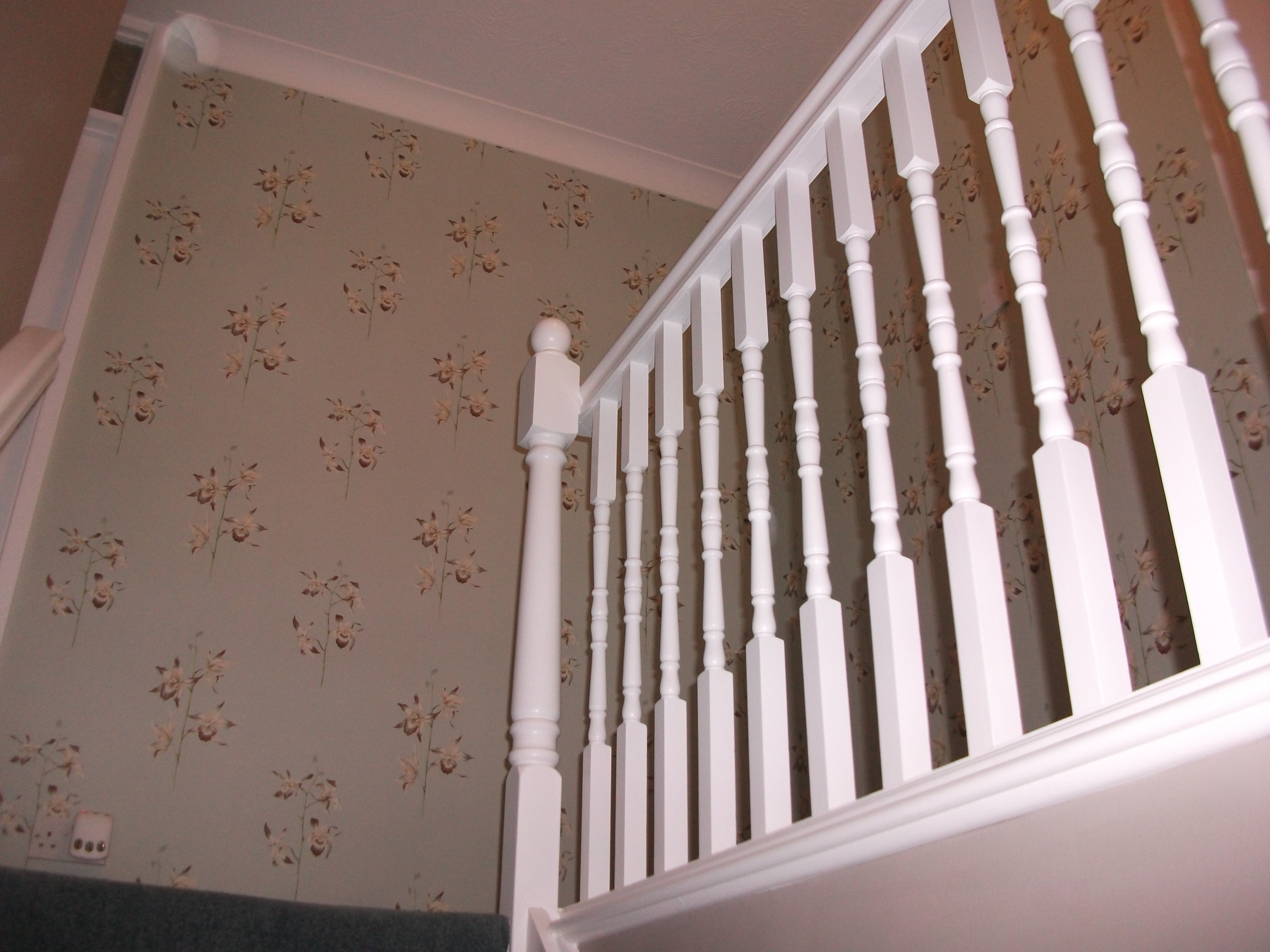 Primed balustrades with Zinsser BIN and two coats of Crown Trade Interior Acrylic Gloss.