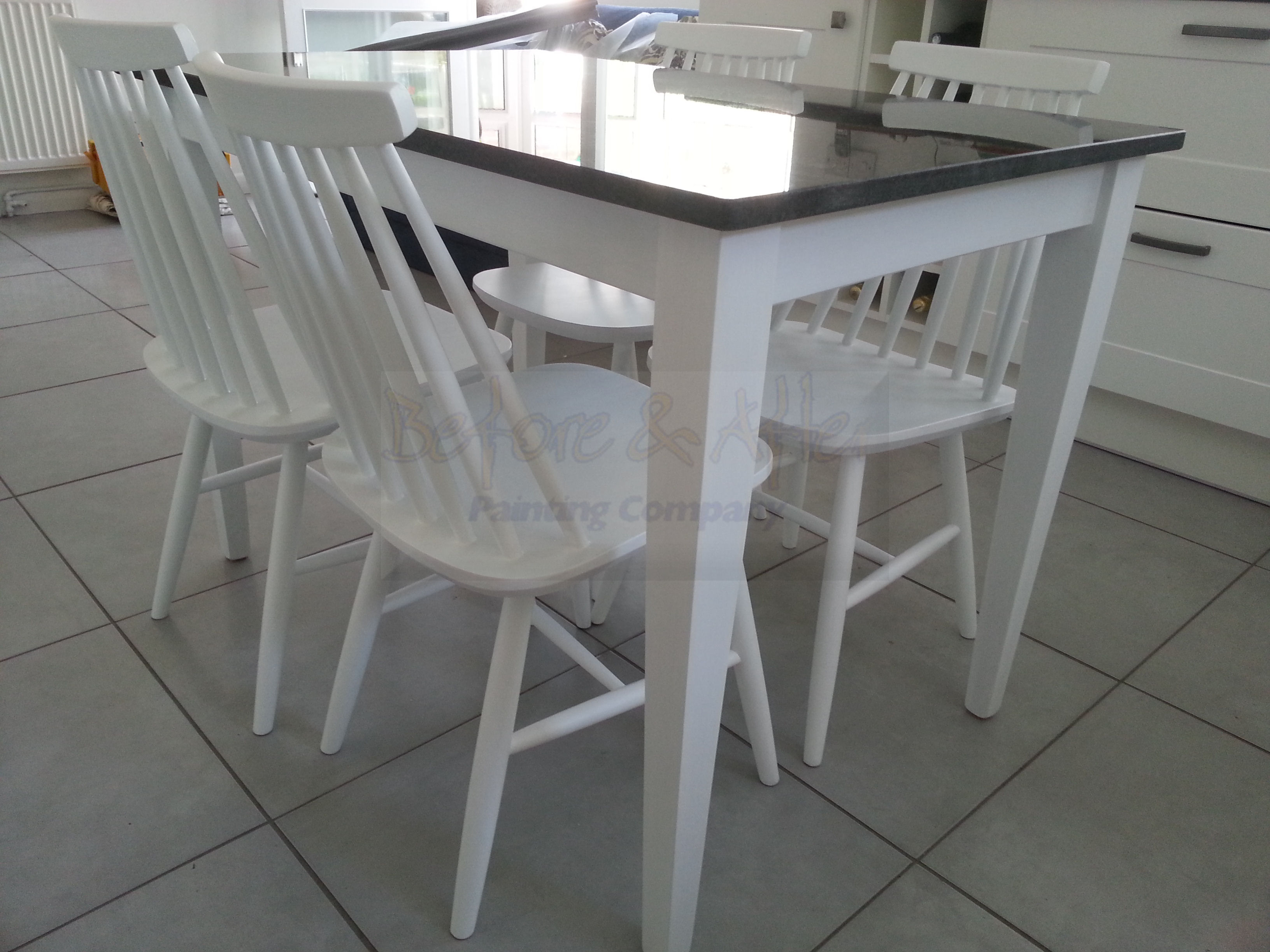 Hand painted kitchen furniture - using Mylands of London waterbased eggshell