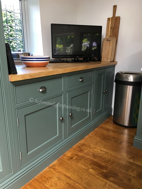 hand painted kitchen unit in caldwell green colour