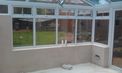 bare plastered walls in new conservatory